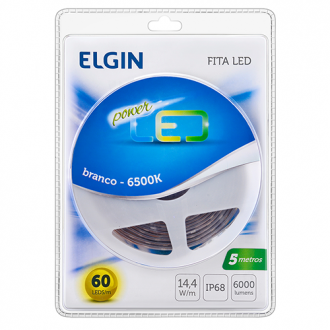 FITA LED 5 MT - 60 LEDS/MT - IP68 - BRANCA - 48FLED5MB680 - ELGIN