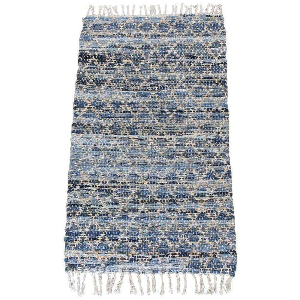 Tapete Sisal Indiano Jeans Azul Bege 0,70 x 1,20m