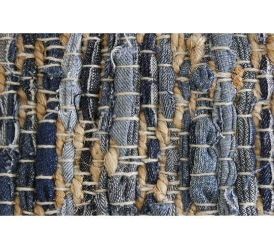 Tapete Sisal Indiano Tiras Jeans Azul Bege 0,50 x 0,80m