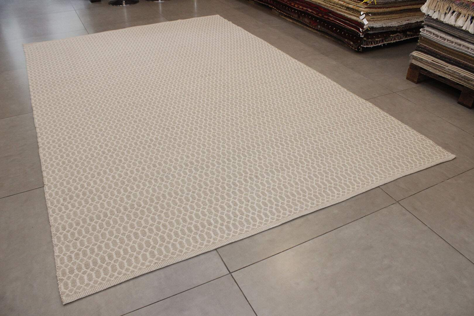 Tapete Kilim Indiano Sirsi Algodão Bege Natural 2,00 x 3,00m