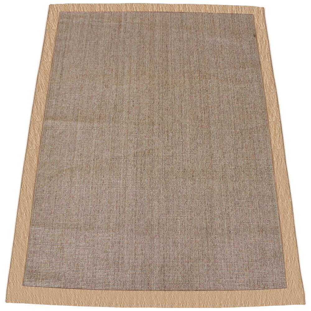 Tapete Sisal Natural Salvatore Borda de Couro Bege Sol 2,50 x 3,50m