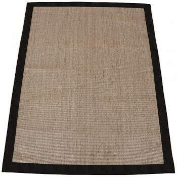 Tapete Salvatore Sisal Natural Borda de Couro Preto 1,00 x 1,50m