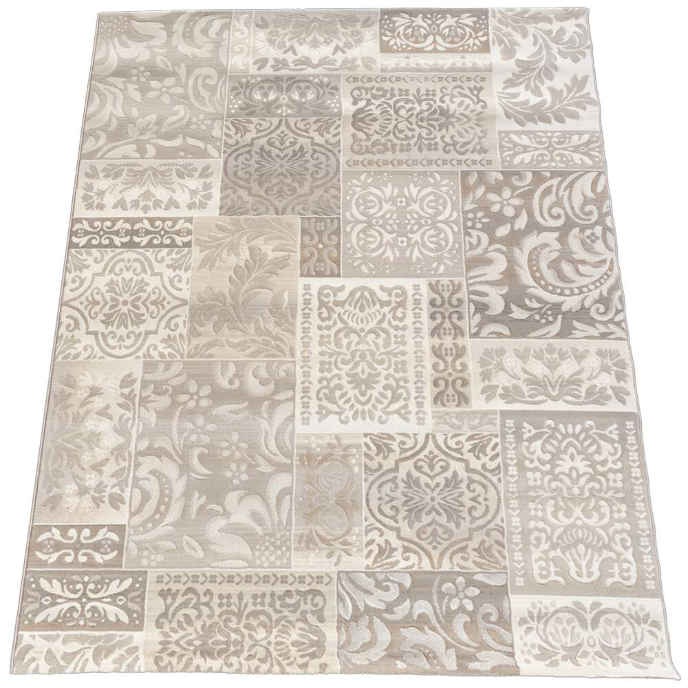 Tapete Belga Extra Macio Robusto Floral Patchwork Bege 1,60 x 2,30m