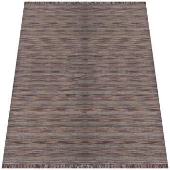 Tapete Kilim Indiano Surate Listras Rajado Franja Marrom Brown 3,00 x 5,00m