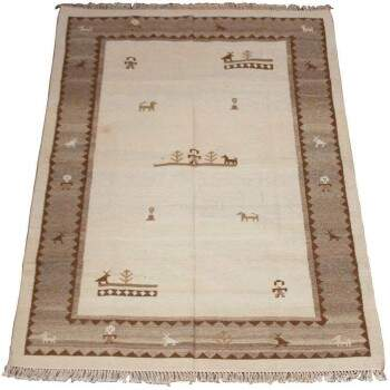 Tapete Kilim Indiano Gabe Bege Marrom 1,70 x 2,40m