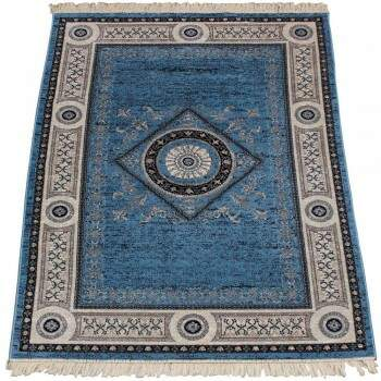Tapete Classic Lux Azul Medalhão Oriental 2,50 x 3,00m