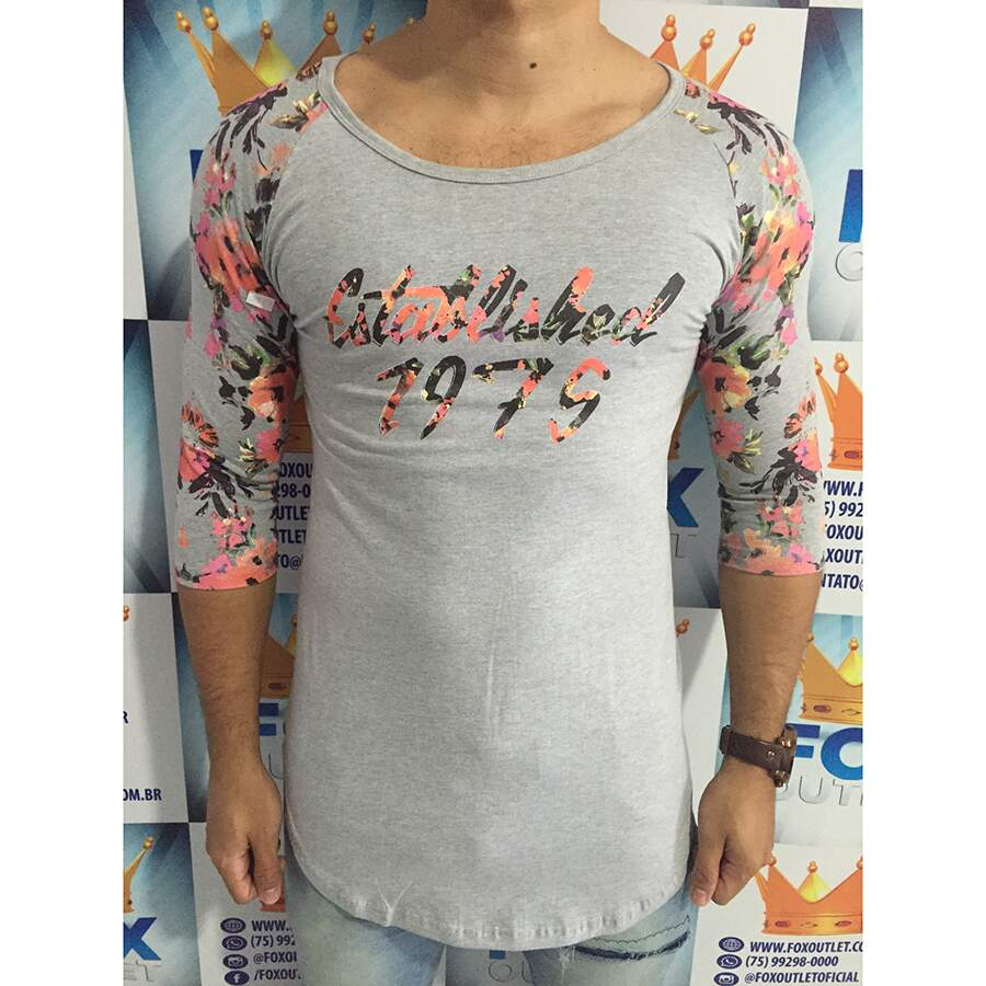 Camisa 3/4 Chami Brand Oversized Floral Cinza