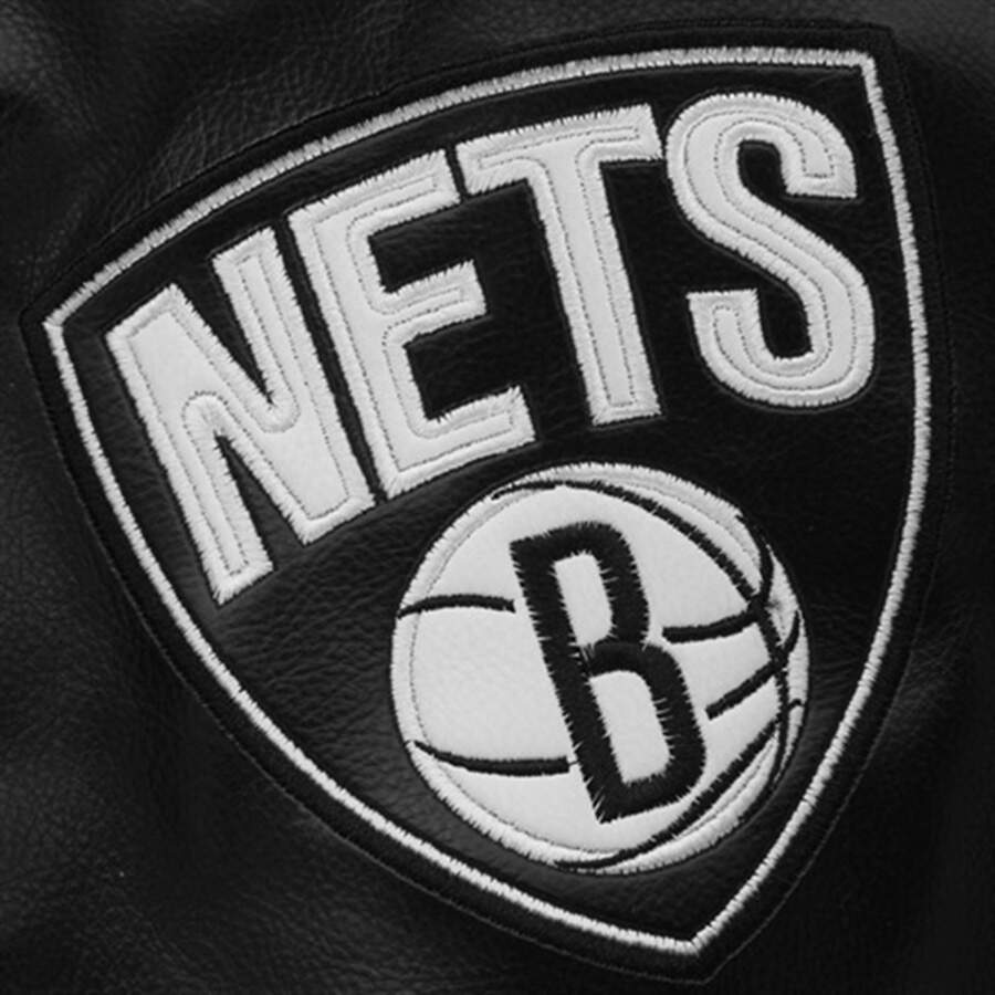 Jaqueta NBA Brooklyn Nets Couro Black