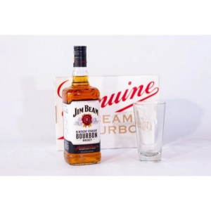 Kit Whiskey Jim Beam Bourbon 1L + Copo de Vidro Exclusivo