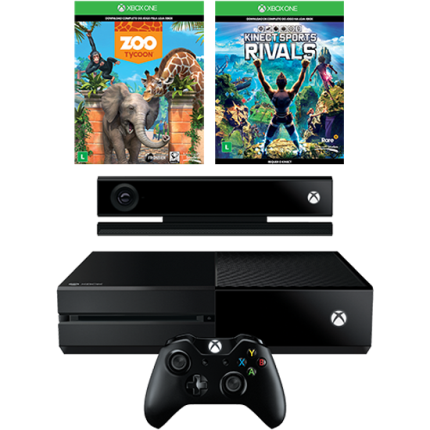 Console Xbox One 500 c/ Kinect + Game Zoo Tycoon + Kinect Sports Rvals (Download)