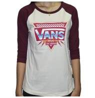 c357032429caf Camiseta Vans 3 4 - Especial Road - Off White Bordo