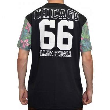 Camiseta New Era Manga Floral Chicago Bulls NBA - Black