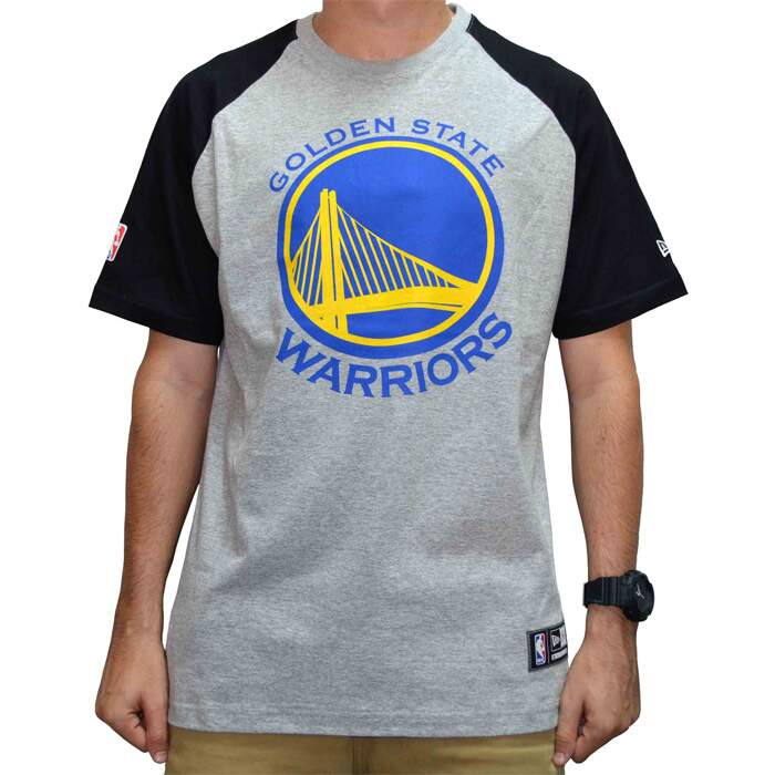 Camiseta New Era Raglan Golden State Warriors NBA - Grey 5569960224b0b