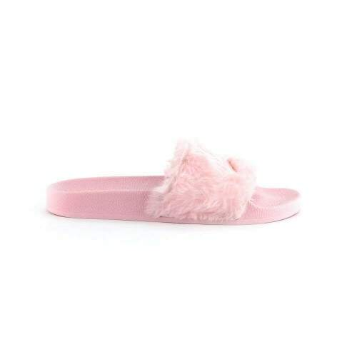 Chinelo Qix Missy Slide Rosa Fluffy