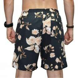 Short Double G Sport Nylon Oriental Flowers - Preto