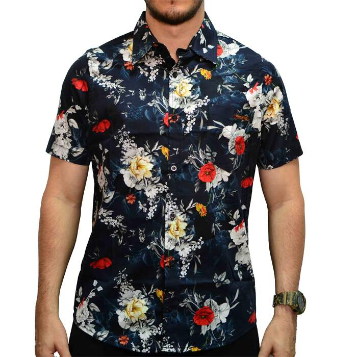 Camisa Your Face Flowers Night - Preto