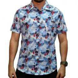Camisa Your Face Floral Print - Azul