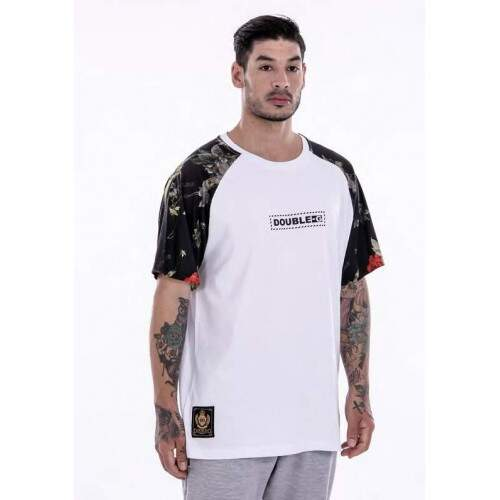 Camiseta Double G Raglan Dark Roses - Branco