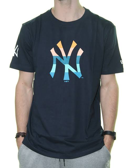 Camiseta New Era Mbv Color Stripe Inside New York Yankees - Marinho