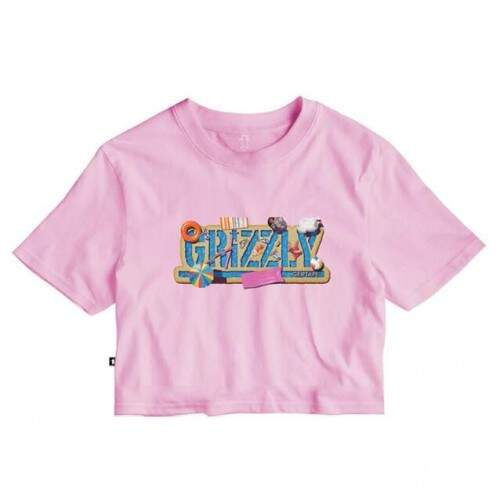 Cropped Grizzly Cool Party Cool Tee - Pink