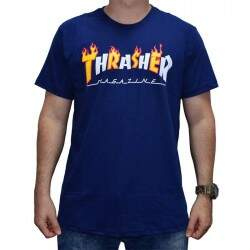 Camiseta Thrasher Flame Mag - Navy