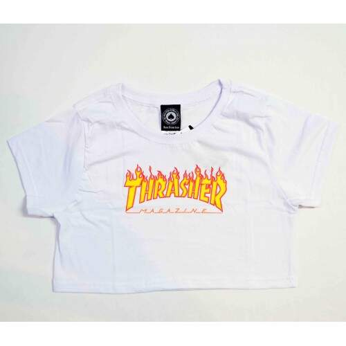 Cropped Thrasher Flame Logo - Branco