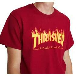 Camiseta Thrasher Flame Logo - Bordo