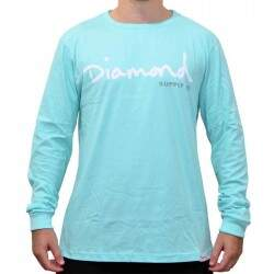 Camiseta Diamond Supply Co Manga Longa Og Script - Blue