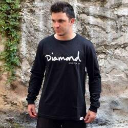 Camiseta Diamond Supply Co Manga Longa Og Script - Preto