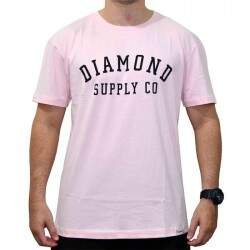 Camiseta Diamond Supply Co Stencil - Rosa
