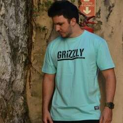Camiseta Grizzly Stamped - Celadon