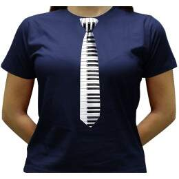 Camiseta Gravata Piano - Baby-look