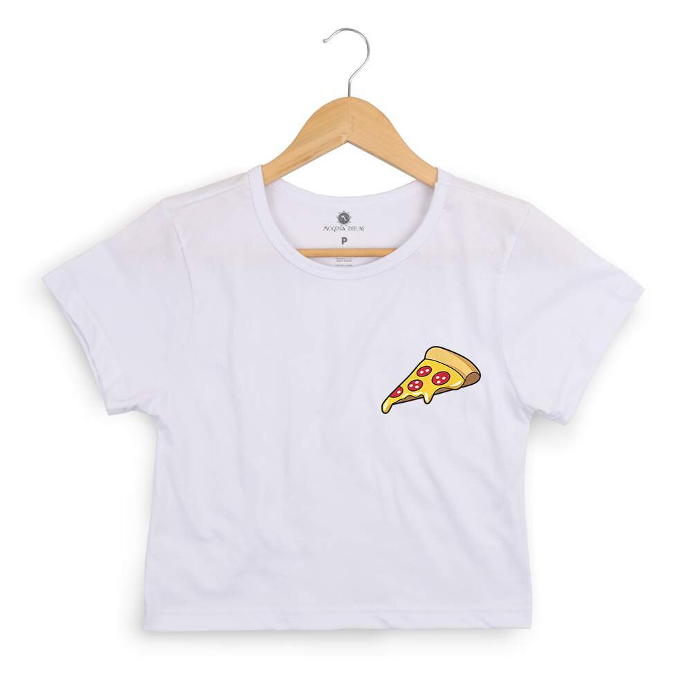 Blusa Cropped Morena Deluxe Pizza Colorida Branco