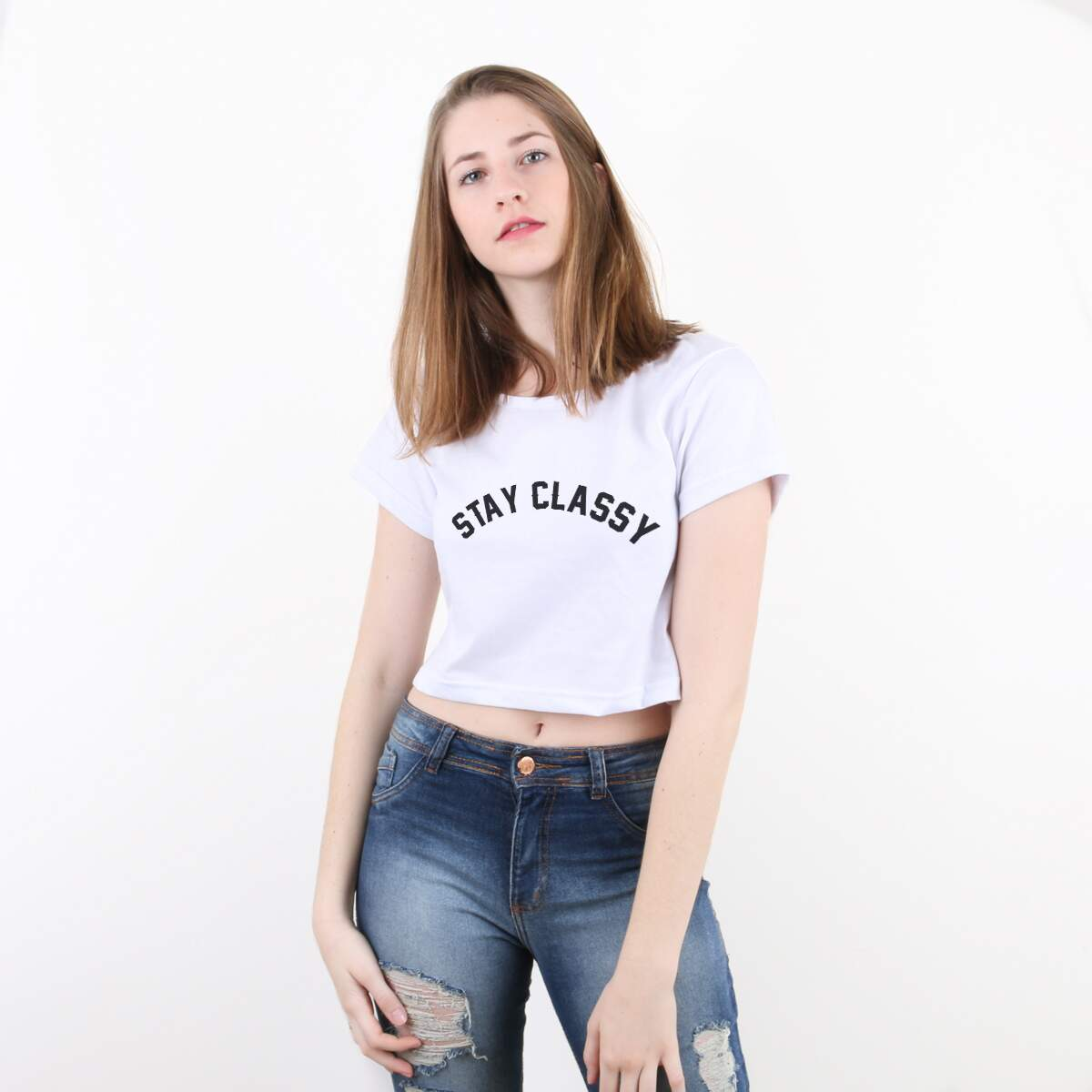 Blusa Cropped Morena Deluxe Stay Classy Branco