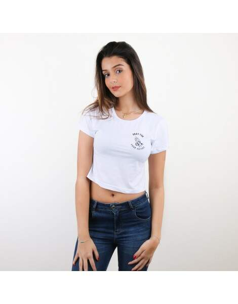Blusa Cropped Morena Deluxe Pray For Your Haters Branco