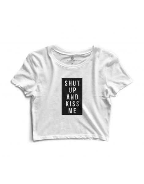 Blusa Cropped Morena Deluxe Shut Up Branco