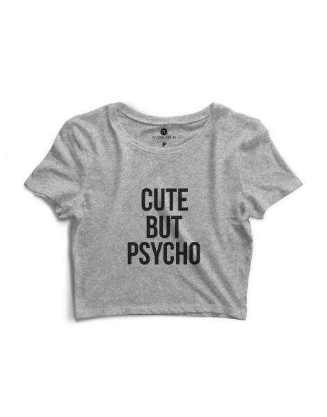 Blusa Cropped Morena Deluxe Cute But Psycho Cinza