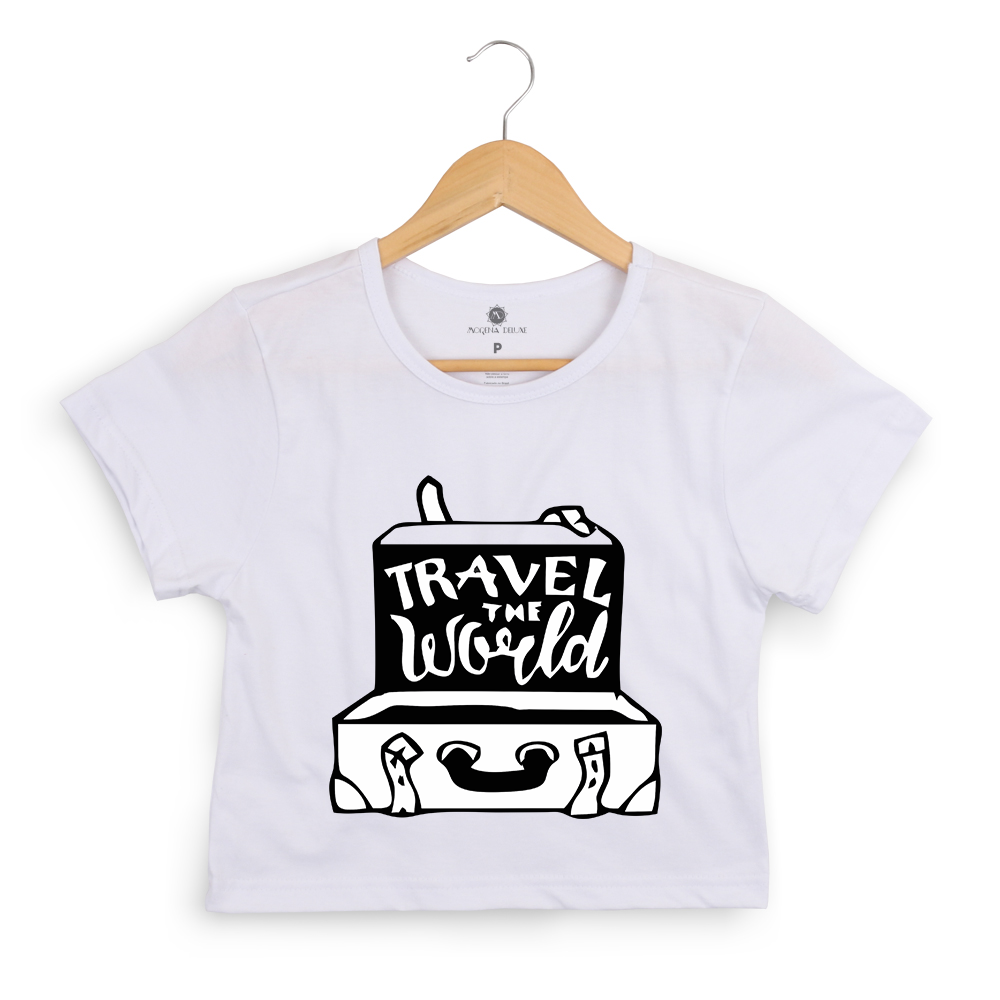Blusa Cropped Morena Deluxe Travel the World Branco