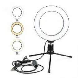 Ring Light Iluminador Selfie 6 Polegadas +Tripé de Mesa Led