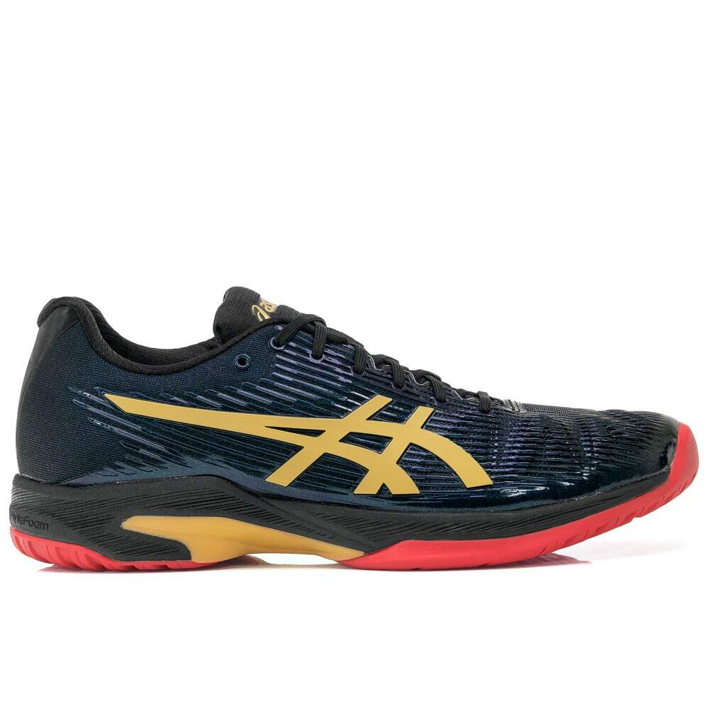 756ad60d931 Tênis Asics Gel Solution Speed FF L.E. Preto e Dourado - SALLES ...