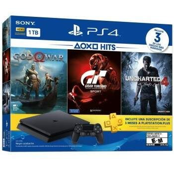 Console Playstation 4 Slim Hits Bundle 1TB + 3 jogos (God of War 4, Gran Turismo Sport e Uncharted 4)