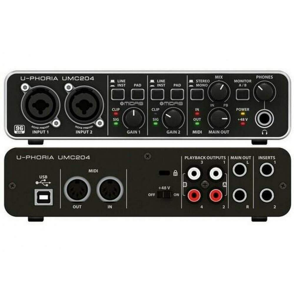 Interface de Áudio Behringer UMC204HD U-Phoria