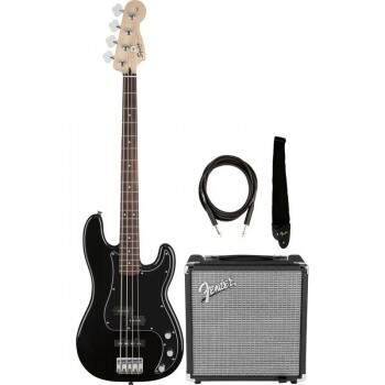 Kit Contrabaixo Fender 030 1972 Squier Affinity + Rumble 15 Preto