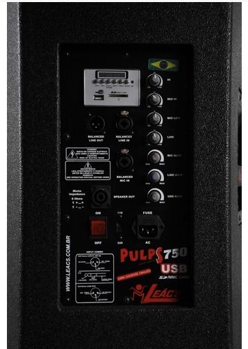 Caixa Ativa Leacs New Pulps750 Frontal 350W RMS Fly USB/SD/FM