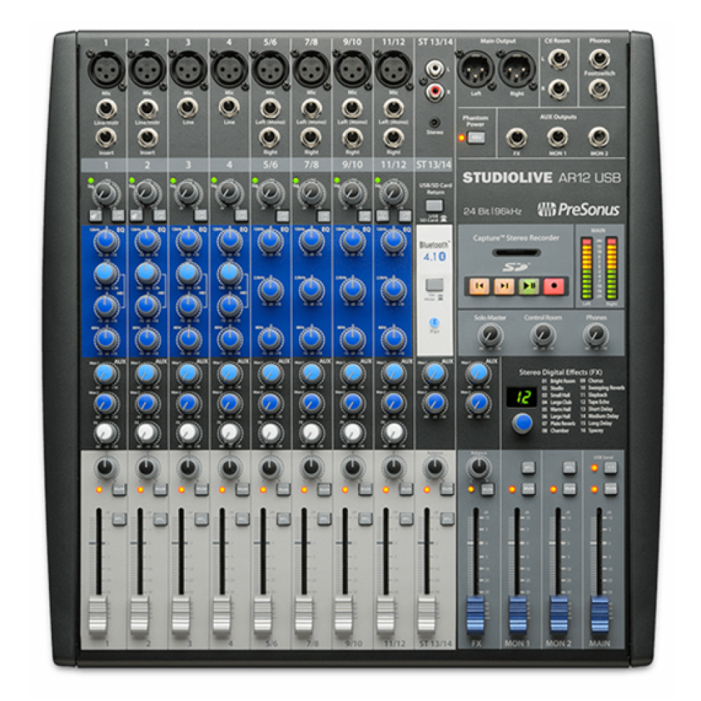 MIXER ANALOGICO INTERFACE GRAVACAO PRESONUS STUDIOLIVE AR12
