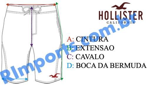Medidas exatas do Short Moletom Hollister