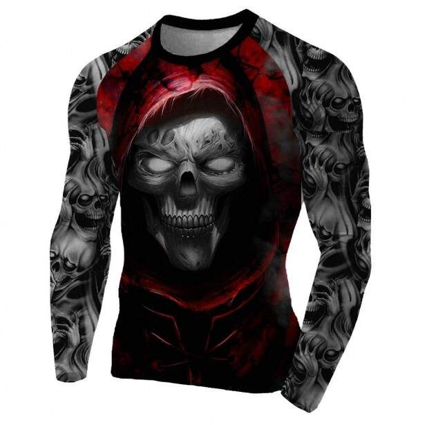 Rash Guard Skull Red Masculina Atlética