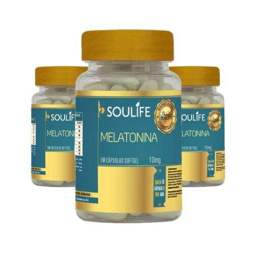 Melatonina 10mg - 60 cápsulas - Soulife - KIT 3 Unidades