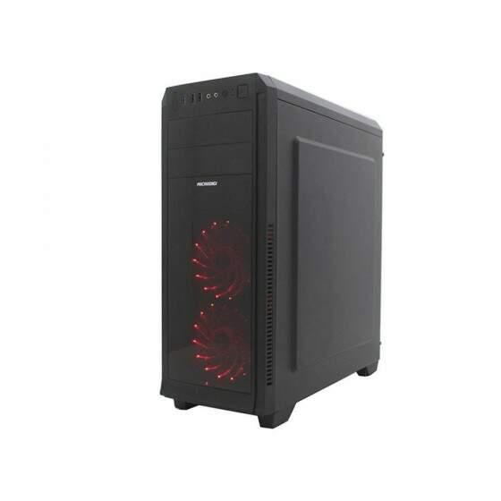 Gabinete Gamer sem fonte, com USB 3.0 Microdigi Painel lateral em Acrílico com 2 Cooler 12mm em Led Vermelho - MD-525