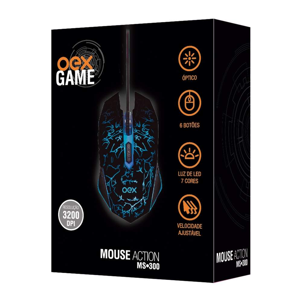 Mouse Gamer Oex Óptico Action USB 6 Botões - MS-300 Preto